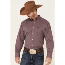 Ariat Men's Burgundy Wrinkle Free Oxford Pinpoint Long Sleeve Button-Front Western Shirt new look 89UL78968