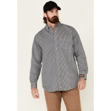 Ariat Men's Flame-Resistant Navy Check Long Sleeve Work Shirt XFAL22852