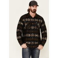 Outback Trading Co. Men's Black Aztec Grover Long Sleeve Western Flannel Shirt Business comfortable CR6SQ8028