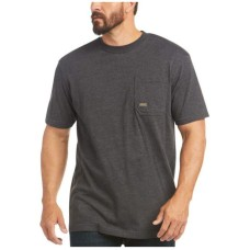Ariat Men's Charcoal Heather Rebar Cotton Strong American Raptor Graphic Work T-Shirt Cost S02WA3952
