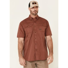 Ariat Men's Henna Solid Rebar Washed Twill Short Sleeve Button-Down Work Shirt KYDR08695