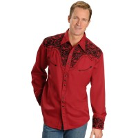 Scully Men's Embroidered Red Retro Long Sleeve Western Shirt New Look M1EUD2289